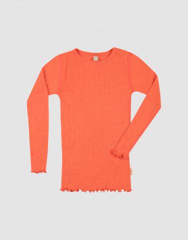 Merinould/silke bluse med hulmønster og lange ærmer til børn