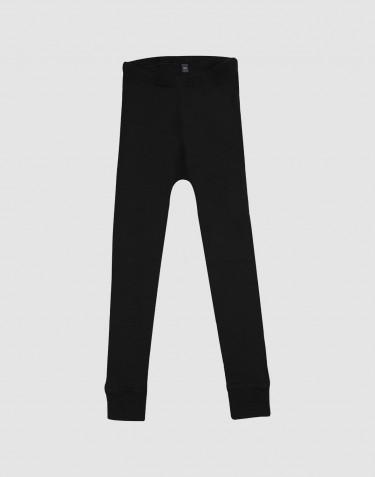 Børne leggings - økologisk merino uld sort