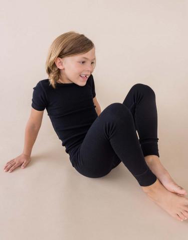 Børne T-shirt - økologisk merino uld sort