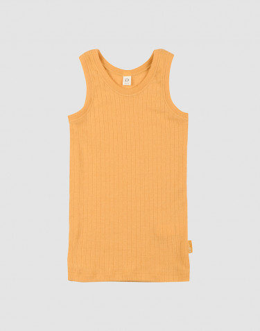 Børne undertrøje i bred uldrib gul