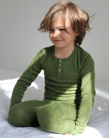 Merinouldbluse med knapper til børn