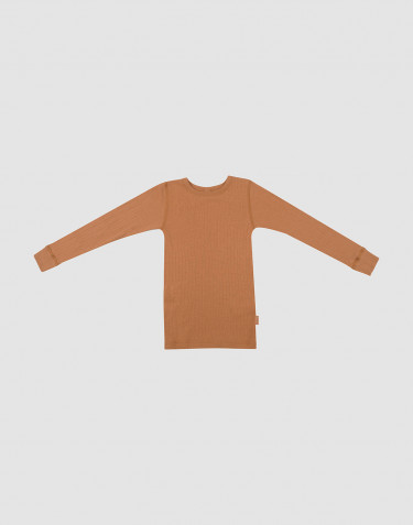 Børne trøje i uldrib karamel