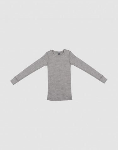 Børne trøje i bred uldrib gråmelange