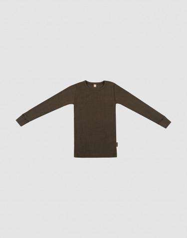 Børne trøje i uldrib mørk chokolade