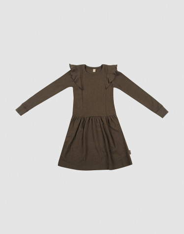 Ribstrikket uldkjole med flæser mørk chokolade