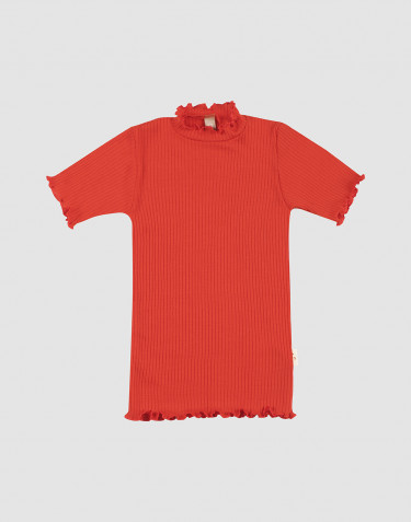 Merinould T-shirt med bølgekanter til børn
