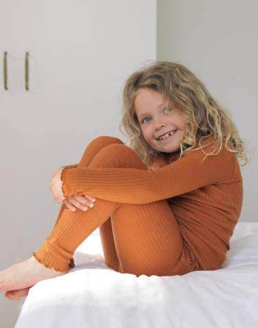Merino leggings med bølge kant til børn Karamel