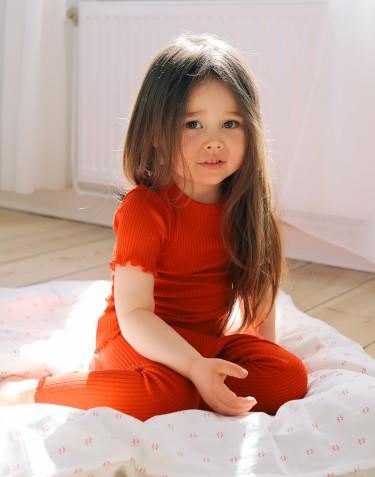 Merinouldleggings med bølgekant til børn