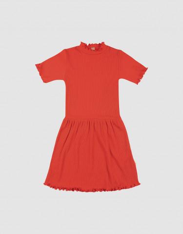 Merinouldkjole med korte ærmer og bølgekanter til børn