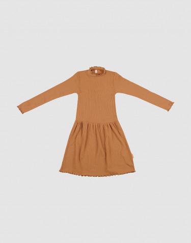 Merino kjole med bølgekanter til børn Karamel