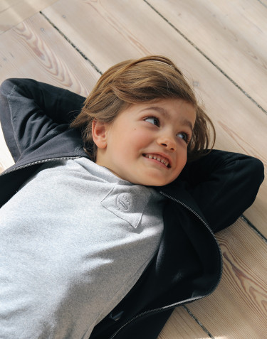 Nattrøje m/langt ærme til børn gråmelange