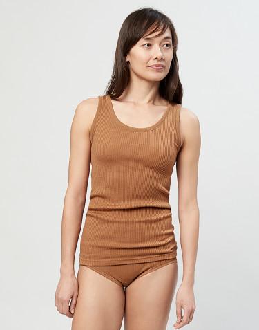 Dame uldundertrøje i rib karamel