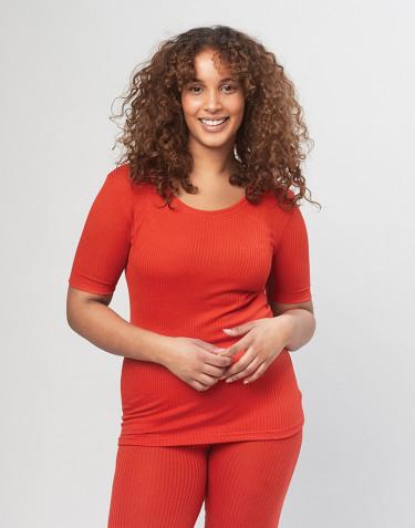 Merino t-shirt i rib til damer rød