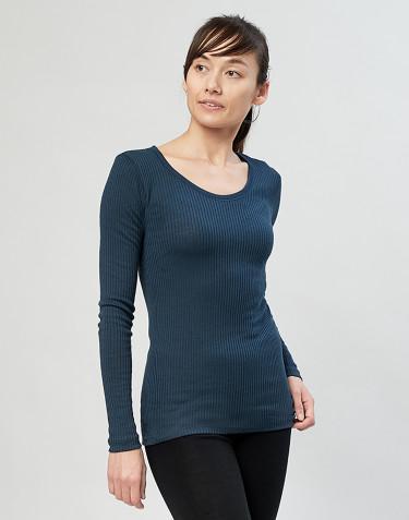 Merino trøje til kvinder i rib mørk petrolblå