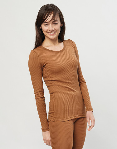 Merino trøje til kvinder i rib karamel