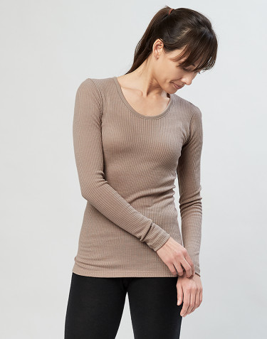 Merino trøje til kvinder i rib sand