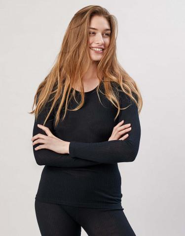 Merino trøje til kvinder i rib sort