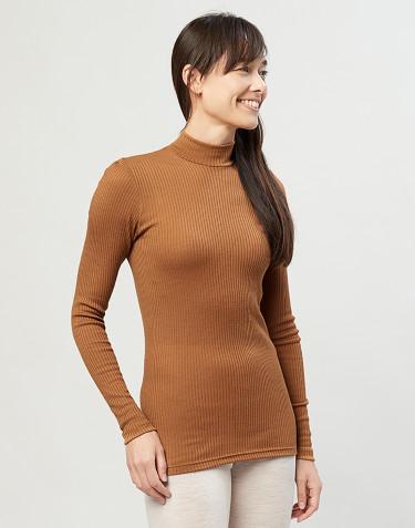 Merino trøje med høj hals i rib karamel