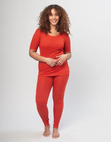 Merino uld leggings i rib til damer rød