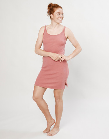 Natkjole i merino uld m/stropper rosa