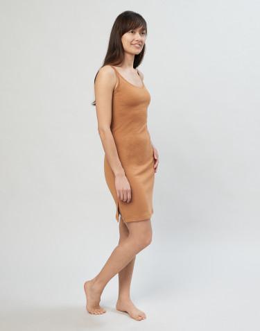 Kjole m. stropper i karamel
