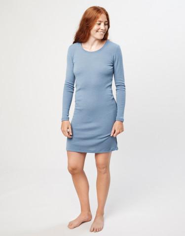 Langærmet natkjole i merino uld blå