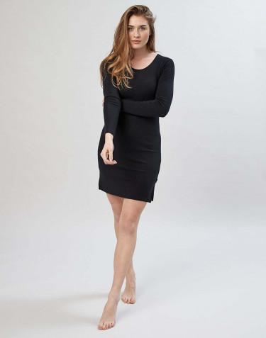 Langærmet natkjole i merino uld sort