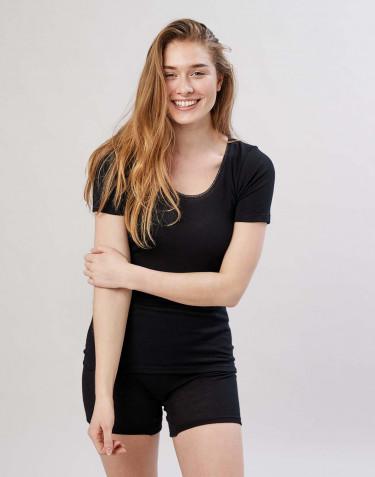 Merino t-shirt til damer sort