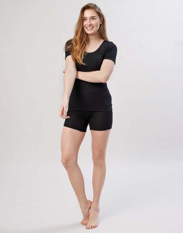 Merino uldshorts med bred elastikkant til damer sort