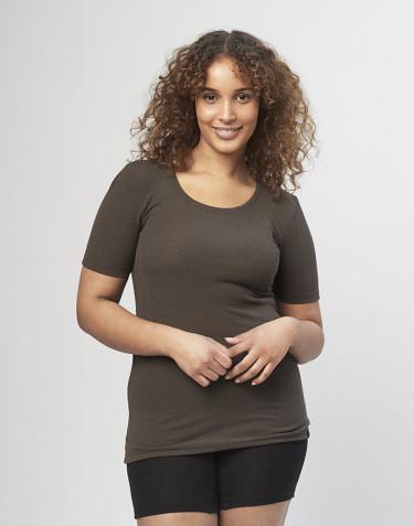 T-shirt til dame i rib mørk chokolade