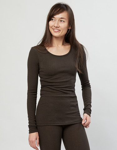 Merino trøje til kvinder i rib mørk chokolade