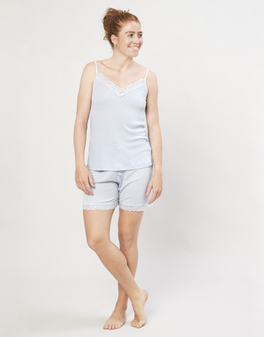 Natshorts til kvinder i økologisk uld/silke lyseblå