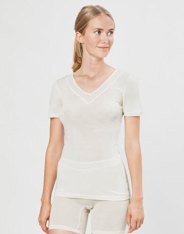 Dame t-shirt i uld/silke natur