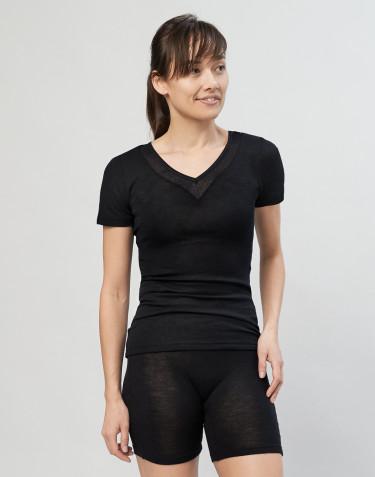 Dame t-shirt i uld/silke sort