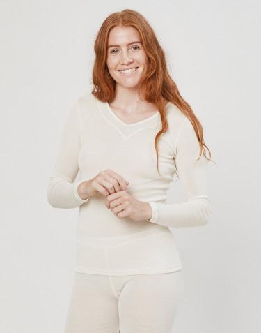 Bluse til kvinder i uld/silke natur