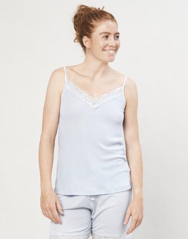 Stroptop med blonde til kvinder i uld/silke lyseblå
