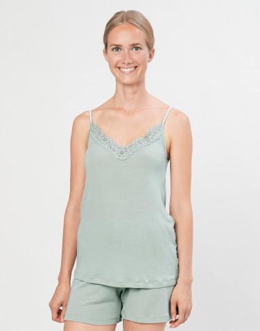 Stroptop med blonde til kvinder i økologisk uld/silke pastelgrøn
