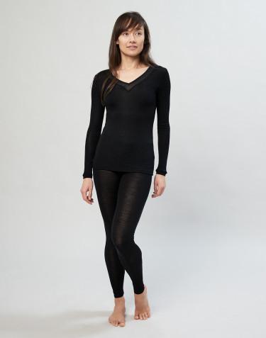 Leggings til kvinder i uld/silke sort