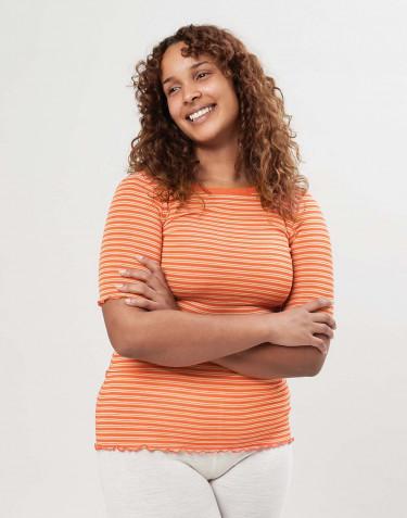 Merinould/silke T-shirt med bølgekanter til kvinder