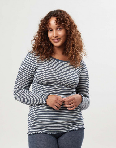 Merinould/silke bluse med lange ærmer og bølgekanter til kvinder