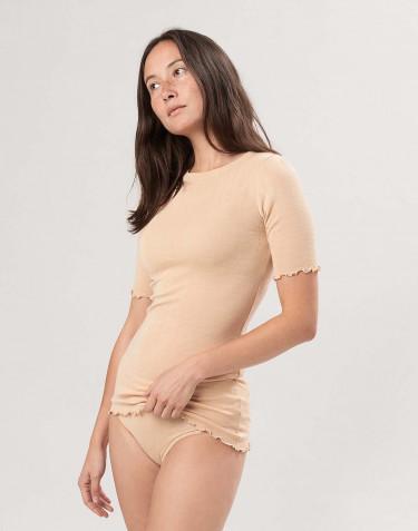Merinould/silke T-shirt med hulmønster til kvinder