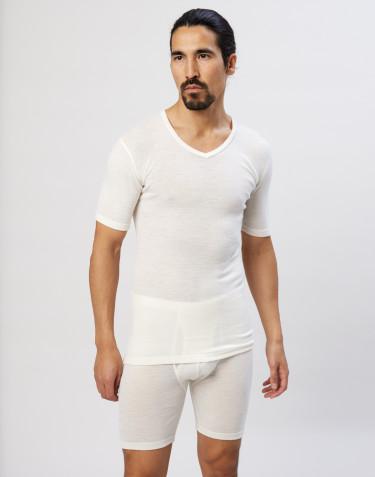Kvartærmet merino t-shirt med V-hals natur