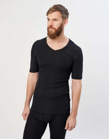 Kvartærmet merino t-shirt med V-hals sort