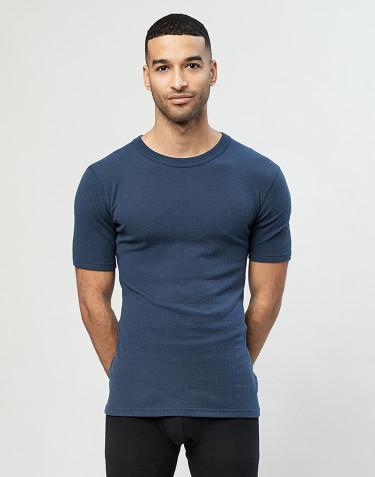 Kvartærmet merino uldtrøje til mænd i rib mørk petrolblå