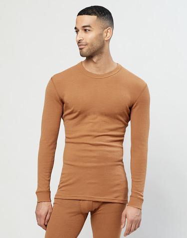 Langærmet merino uldtrøje til mænd i rib karamel