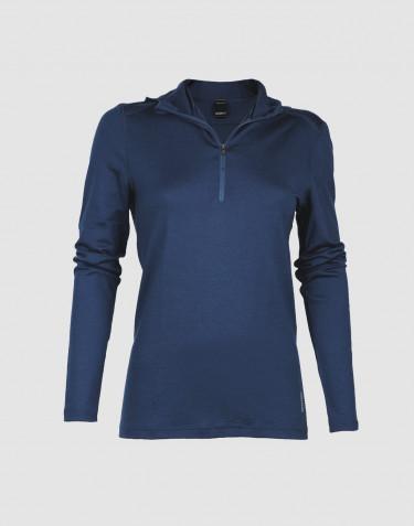 Trøje med hætte til kvinder - eksklusiv merinould mørkeblå