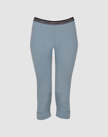 ¾ Dame Leggings - eksklusiv merino uld mineral blå