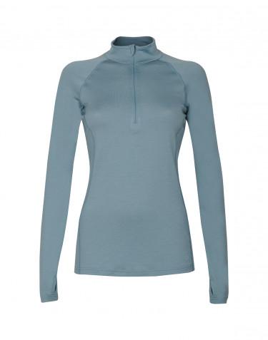 Trøje med lynlås til dame - eksklusiv merino uld mineral blå