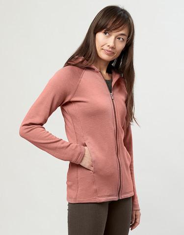 Hættetrøje i uldfrotté med lommer rosa
