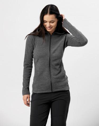 Hættetrøje i uldfrotté med lommer mørk gråmelange